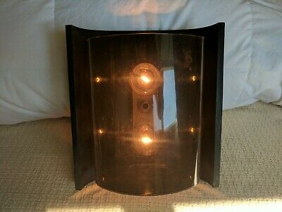 Vintage Mid Century Forecast Black Lucite Cast Metal 2 Light In/Out Wall Fixture
