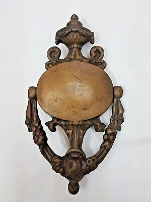 Antique Large Solid Brass Ornate With Drapes & Scrolls & Flowers Door Knocker