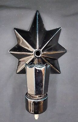 Architectural Salvage Black Porcelain Starburst Wall Sconce Fixture