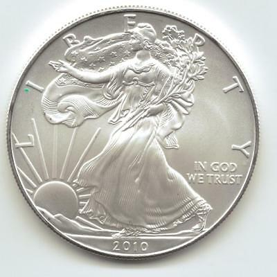 2010  Uncirculated American Silver Eagle  1-Troy oz. .999 Silver. Eagle is White