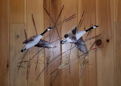Vintage 2 Flying Ducks Geese Wall Decor Hanging Brass Metal Art w/ cattails