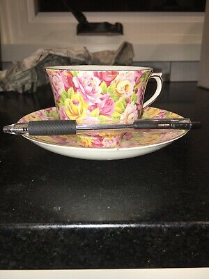 Colclough Bone China Pink Red Yellow Rose Chintz Demitasse Cup with Saucer