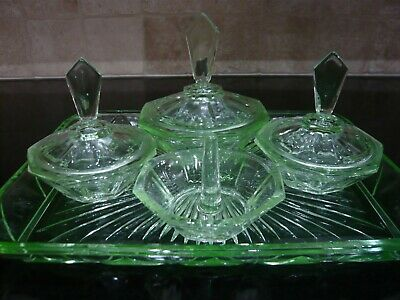 Stunning 1930's  Art Deco uranium glass dressing table set