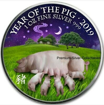 """2019 Great Britain """"Year of the Pig"""" Colorized 1oz .999 Silver Coin in Capsule"""