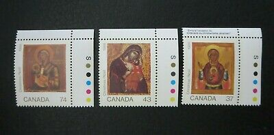 "Canada Stamps  #1222-4  Mint 1988  ""Christmas Icons""  Corner Margin Singles Set"