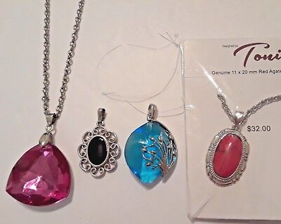 Red Agate Stone pendant on silver chain. Large pink + blue pendants, Sarah Cov