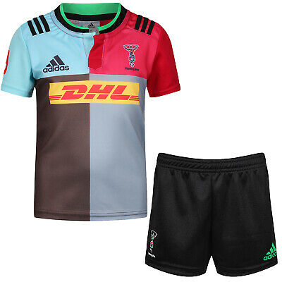 adidas HARLEQUINS RUGBY SHIRT MINI KIT JERSEY SHORTS BOYS KIDS CHILDRENS UNION