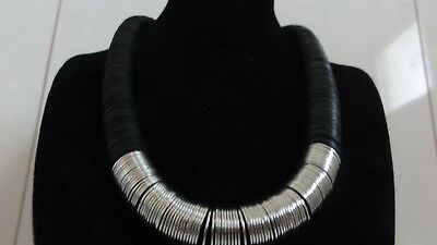Art Deco Egyptian Revival Stunning Design Piece Black And Silver Tone Necklace