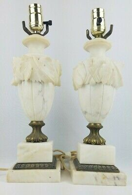 Lot of 2 Vintage Neoclassical Italian Carved White Alabaster Marble Lamps Italy