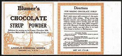 Antique 1910 Blumer's Chocolate Syrup Powder Label - Lincoln Chemical Chicago