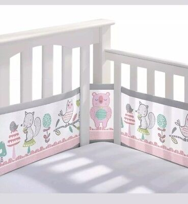 BreathableBaby Mesh Crib Liner - Girl Forest Fun Pink Brand New