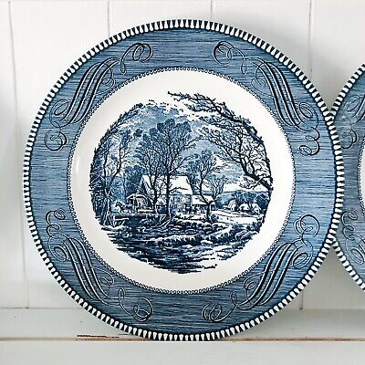 """Currier & Ives 9"""" LUNCHEON PLATE Blue Royal Ironstone """"Old Grist Mill"""" Farmhouse"""