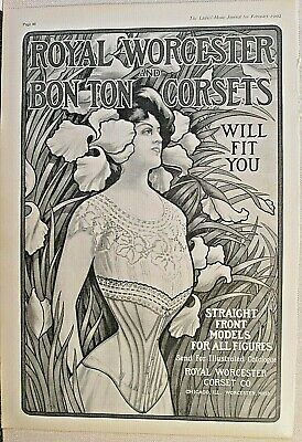 Corset, Fashion, Royal Worcester & Bon Ton Corsets Chicago 1902 Antique Print Ad