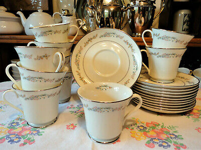 LOT of 10 Cup And Saucer Sets Rondelle China By Gorham TEACUPS, COFFEE CUPS