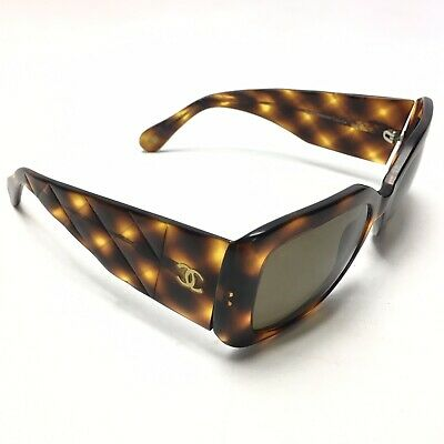 0079dace2790 CHANEL CC Tortoise shell SUNGLASSES 5019 QUILTED c502/93 135 Vintage Womens