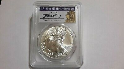 2018 PCGS MS70 1st STRIKE SILVER EAGLE, T. CLEVELAND HAND SIGNED, 1of1000 labels