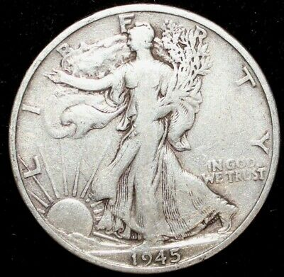 1945-San Francisco mint. Walking Liberty 90% Silver US Half Dollar