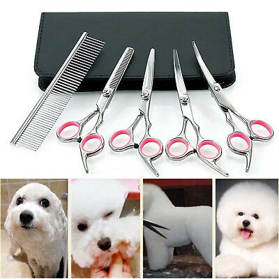 5x/Kit Pet Hair Scissors Set Dogs Grooming Cutting Thinning Curved Comb Shears