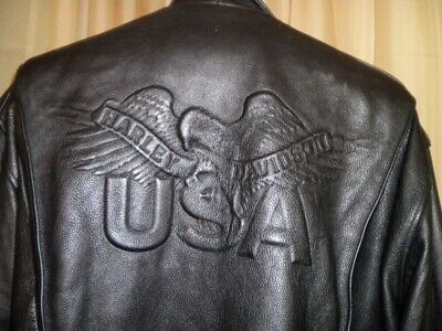 Harley Davidson Leather Jacket Embossed Eagle USA Distressed 1990s MENS XL