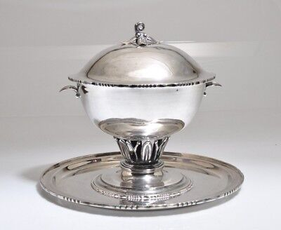 SANBORNS MEXICAN STERLING SILVER JENSEN STYLE CENTER TUREEN WITH LID/TRAY 3279gr