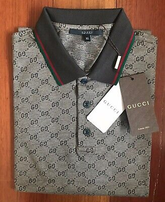 d15def6cb8e2 GUCCI MEN'S POLO Shirt Brown with GG Monogram Print /Size: XL ...