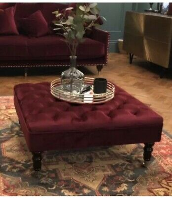 ❤️ Red Velvet Chesterfield Style deep Buttoned Footstool/Coffee Table❤️