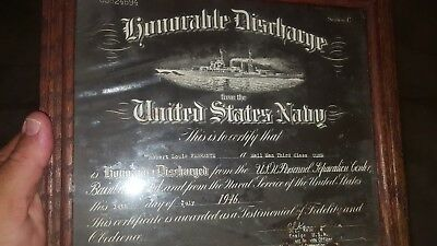 UNIQUE NEGATIVE? 1946 World War II Honorable Discharge Document US NAVY SERIE C