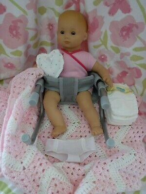 American Girl Bitty Baby Doll Blue Eyes 2014 CHAIR OUTFIT BLANKET DIAPERS HAT++
