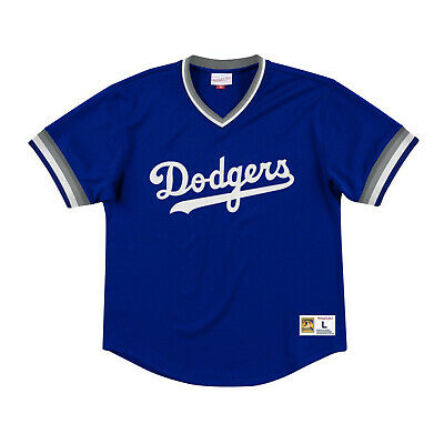 3a993efd966 Los Angeles Dodgers LA Mitchell   Ness MLB Authentic Mesh V-Neck Batting  Jersey