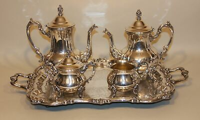 5 Pc Towle Louis Philippe Silverplate Tea Set Coffee Teapot Creamer Sugar & Tray