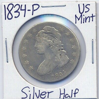 1834-P Capped Bust Silver Half Dollar US Mint Silver Estate Coin 90%