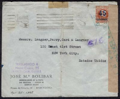 Spain #591 April 25 1938 Barcelona to USA, Censored, Republica Espanola Censura
