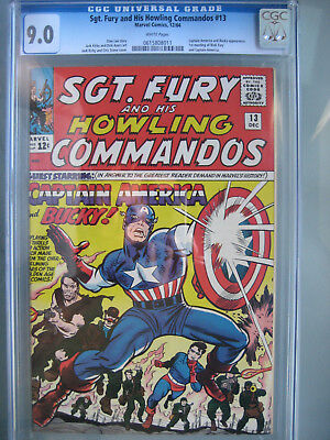 Sgt. Fury #13 CGC 9.0 WP 1964 1st Meeting Captain America & Fury First Printing