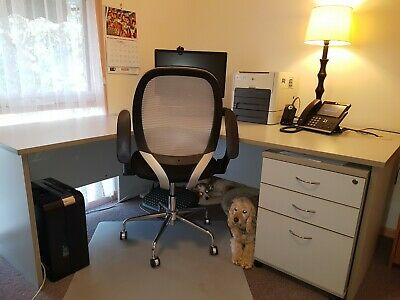Large Corner Office Desk With Small drawers and filing drawer. Grey.