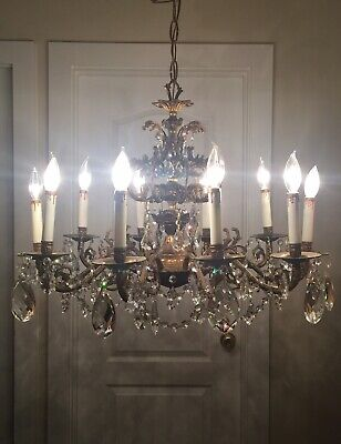 "X-LARGE ANTIQUE BRONZE CHANDELIER UNUSUAL CRYSTAL PRISMS ORNATE UNIQUE 28.5""x22"