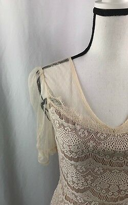 Fire Los Angeles Nude Lace Women's Dress Size Medium Sheer Overlay Juniors