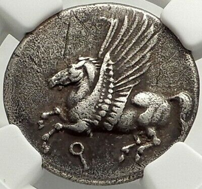 CORINTH 345BC Authentic Ancient Silver Greek Stater Coin ATHENA PEGASUS  NGC