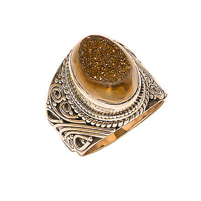 Titanium Druzy Vintage Style 925 Sterling Silver Ring 5.5(1014)