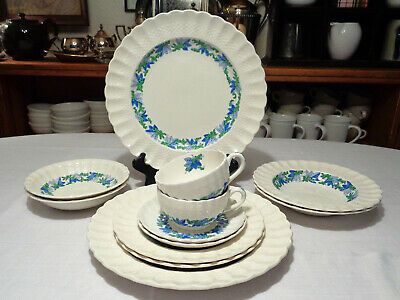 6 pc Place Setting Service for 2 Spode Vintage Valencia Blue Green Bone China