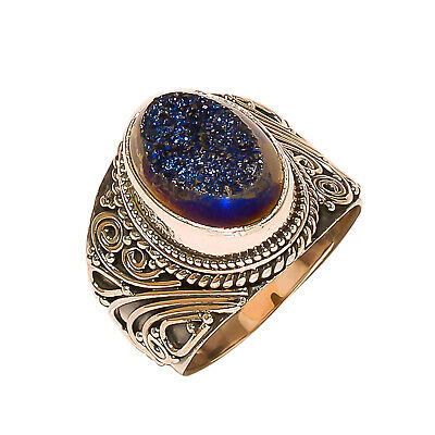 Titanium Druzy Vintage Style 925 Sterling Silver Ring 8(1130)