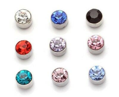 4mm-6mm Crystal Stone Clip on Magnetic Magnet Ear Stud Mens Womens Fake Earrings
