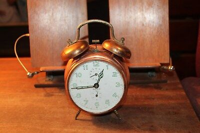Vintage Copper Finish Merit Alarm Clock For Repairs Germany Star Sales