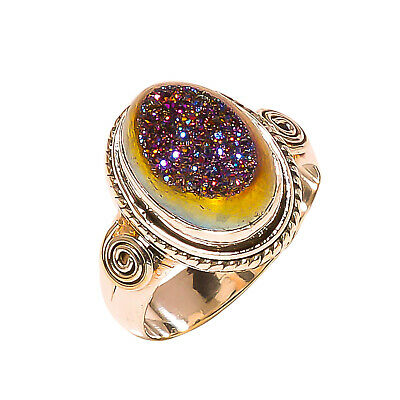 Titanium Druzy Vintage Style 925 Sterling Silver Ring 9(1170)