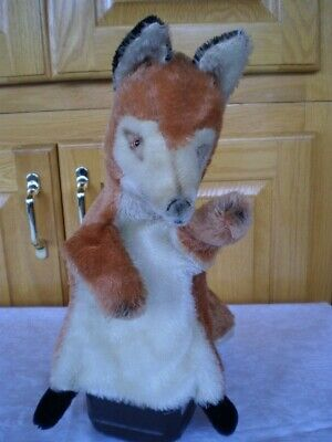 ??Steiff fox hand puppet mohair button flag stuffed animal made in Germany 2563