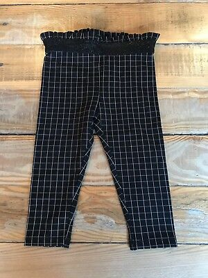 AS NEW Country Road Black And White Pants With Elastic Frill 12-18 Months