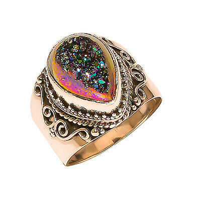 Titanium Druzy Vintage Style 925 Sterling Silver Ring 8(1080)