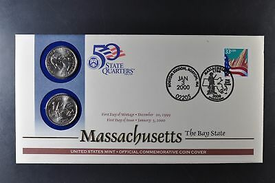 2000 Massachusetts P&D State Quarter First Day Coin Cover  Stamp and Sealed