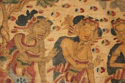 Antique hanging temple Indonesian. Paint on canvas. 182 x 82 cm
