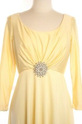 60s 70s Yellow Draped Goddess Empire Waist Maxi Dress Prom Cocktail Boho Party