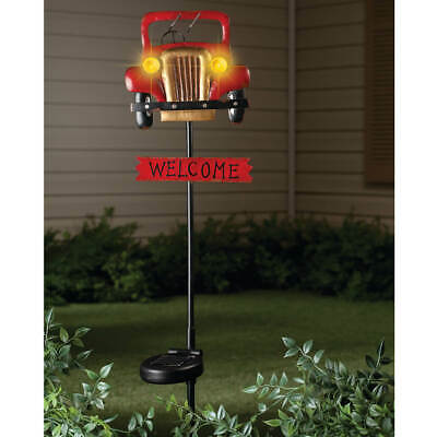 Solar Lighted Welcome Sign Garden Stake Old Fashioned Antique Red Car Headlights